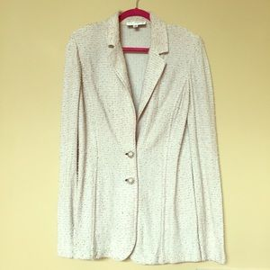 💛ST. JOHN Collection Cream Knit Jacket 12💛